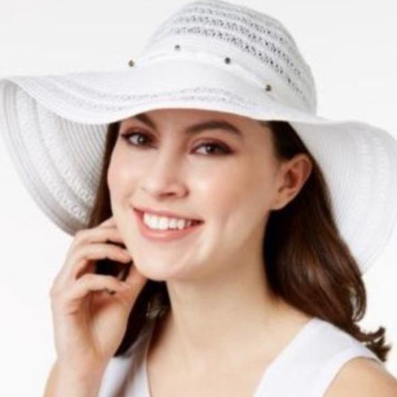 549143bdf INC Metallic Beaded Floppy Hat White NWT